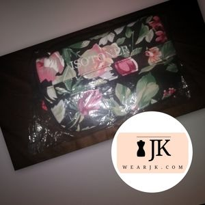 Isotoner Cloth Accessory Bag w/ Pink Flowers